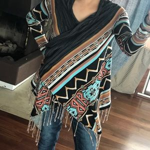 BILLOBONG Wrap Fringe Shawl Sweater Boho Pattern M